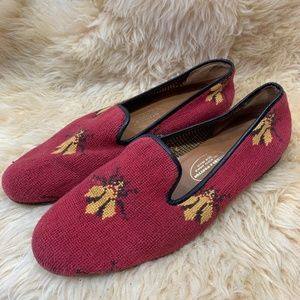 Stubbs & Wootton Needlepoint Slippers bee insect